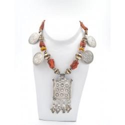 Collana in argento, coralli, ambra e murrine