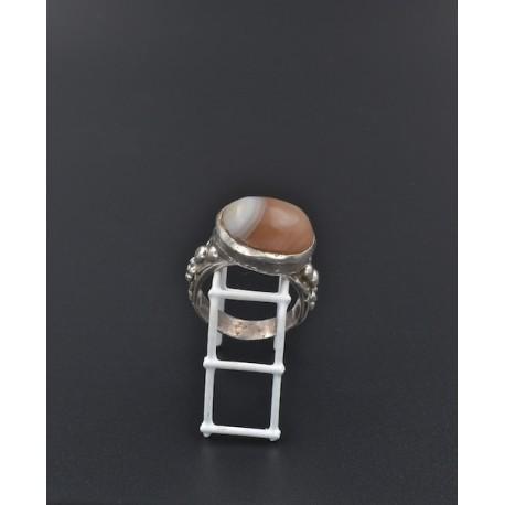 Anello in argento 925/°°° e agata striata