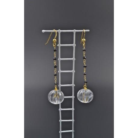 Orecchini in AG 925/°°° dorato, con spinelli e cristallo di rocca