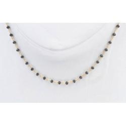 Collana di spinelli neri sfaccettati e argento 925/°°°