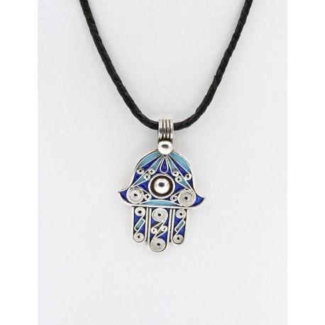Pendente in argento e smalti, mano di Fatima o Hamsa