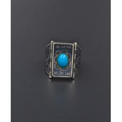 Anello in argento 925/°°° niellato con turchese
