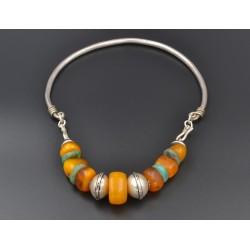 Collana in argento, ambra africana, e amazzonite