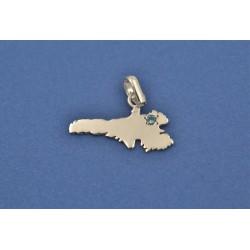 Pendente o charm, isola di Lampedusa, in argento 925/°°° e zircone