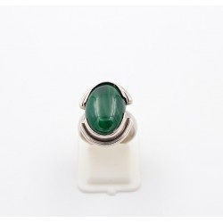 Anello in argento 925/°°° e malachite