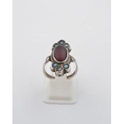 Anello in argento 925/°°° turchesi e corniola