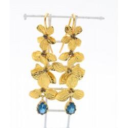 Orecchini in ag 925% dorato con topazio blu