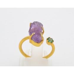 Anello contrarie in argento 925/°°° dorato, con una ametista e smeraldino