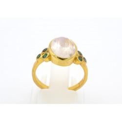 Anello in argento 925/°°° dorato e pietra di luna