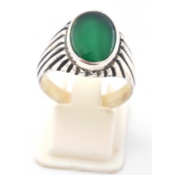 Anello in argento 925/°°° e agata verde