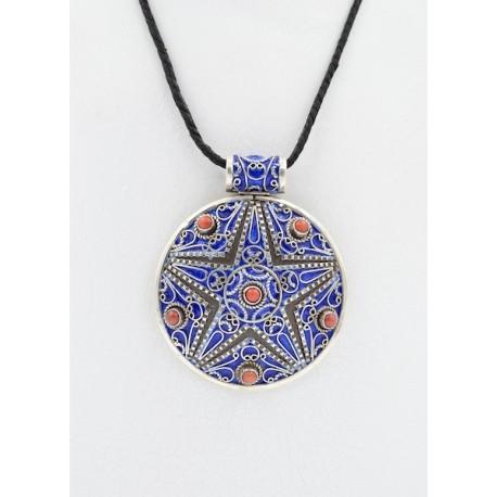 Pendente berbero in argento 925, smalto e coralli